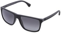 Emporio Armani Herren EA 4033 Modern Wayfarer Sonnenbrille, 5229T3, Black/Grey Rubber, Polar Grey Grad - 1