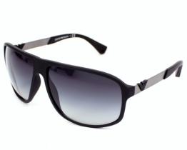 Emporio Armani Herren Wayfarer Sonnenbrille Essential Leisure, Gr. 64 Mm, Grau (Black Rubber/Grey Grad) - 1