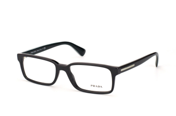 Prada PR 15Qv 1AB 1O1, Rectangle Brillen, Schwarz