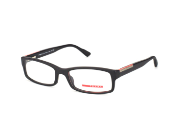 Prada Sport PS 10Av 1Bo1O1, Rectangle Brillen, Schwarz