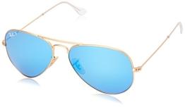 Ray Ban Unisex Sonnenbrille Aviator, Gr. Large (Herstellergröße: 55), Gold (gold 112/4L) - 1