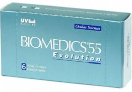 Biomedics 55 Evolution Monatslinsen weich, 6 Stück / BC 8.6 mm / DIA 14.2 / -2,50 Dioptrien - 1