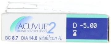 Acuvue 2-Wochenlinsen weich, 6 Stück / BC 8.7 mm / DIA 14.0 / -5,00 Dioptrien - 2