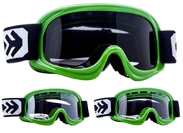 ARROW AKC 49 Kids CROSSBRILLE Cross Enduro MX Helm Crosshelm Brille Kinderbrille gr_n Glas: DUNKEL - 1