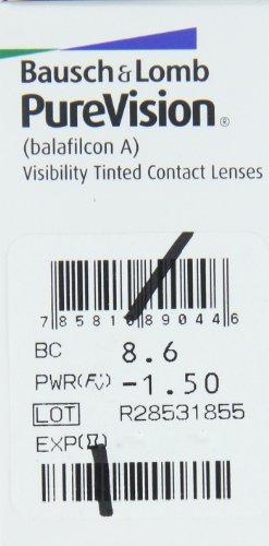 Bausch & Lomb Purevision Spheric Monatslinsen weich, 6 Stück / BC 8.6 mm / DIA 14.0 mm / -1,50 Dioptrien - 2