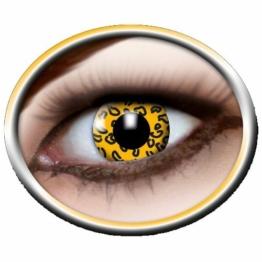 Eyecatcher Color Fun, Farbige Kontaktlinsen, Gelber Leopard, Jahreslinsen weich, 2 Stück / BC 8.6 mm / DIA 14.5 mm / 0.00 Dioptrien - 1