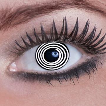 Eyecatcher Color Fun, Farbige Kontaktlinsen, Black Spiral, Jahreslinsen weich, 2 Stück / BC 8.6 mm / DIA 14.5 mm / 0.00 Dioptrien - 1