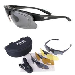 Innovation Plus UV400 Schwarz Rx POLARISIERTE SPORT BRILLEN mit Wechselgläsern - Sonnenbrillen mit SEHSTÄRKE OPTIONEN für Joggen (Laufen), Tennis, Ski, Fahrrad etc - 1