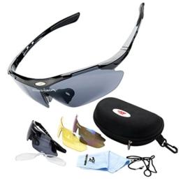 ROBESBON Herren Polarisierte Fahrradbrille 3 Wechselgläser Outdoor Sportbrille UV400 Sonnenbrille Brillenetui Brillenbeutel Radbrille Herrenbrille - Schwarz Rahmen - 1