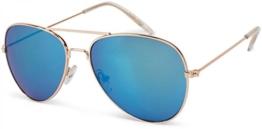 styleBREAKER Kinder Pilotenbrille mit Edelstahl Metall Gestell, Sonnenbrille 09020059, Farbe:Gestell Gold / Glas Blau verspiegelt - 1