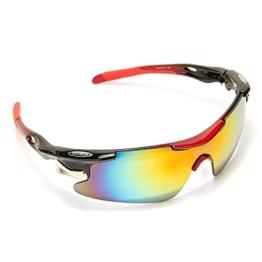 TOMOUNT Radbrille 5 Wechselgläser Fahrradbrille Sonnenbrille Schutzbrille Sportbrille UV400 BIKE Glasses + Gürteltasche - 1