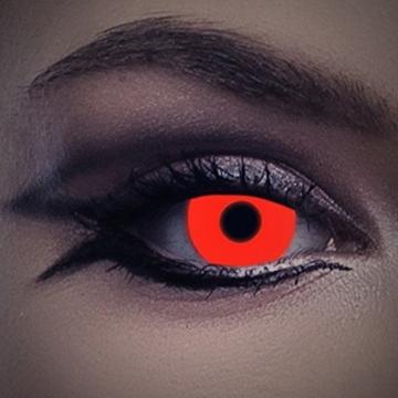 UV Kontaktlinse Red In Your Eyes by aricona - Deckende farbige Jahreslinsen für dunkle und helle Augenfarben ohne Stärke, Farblinsen für Karneval, Fasching, Motto-Partys und Halloween Kostüme - 2