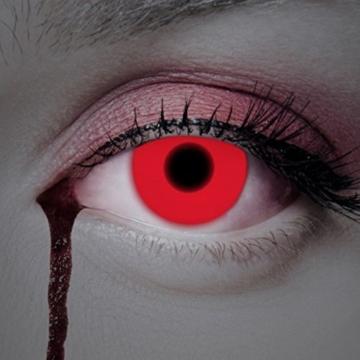UV Kontaktlinse Red In Your Eyes by aricona - Deckende farbige Jahreslinsen für dunkle und helle Augenfarben ohne Stärke, Farblinsen für Karneval, Fasching, Motto-Partys und Halloween Kostüme - 1