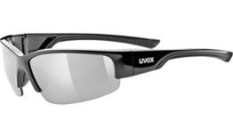 Uvex Erwachsene Sportsonnenbrille Sportstyle 215, Black/Lens Litemirror Silver, One Size, 5306172216 - 1