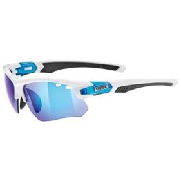Uvex Sportsonnenbrille Sportstyle 109, White Blue/Lens Clear/Litemirror Orange/Mirror Blue, One Size, 5306858416 - 1